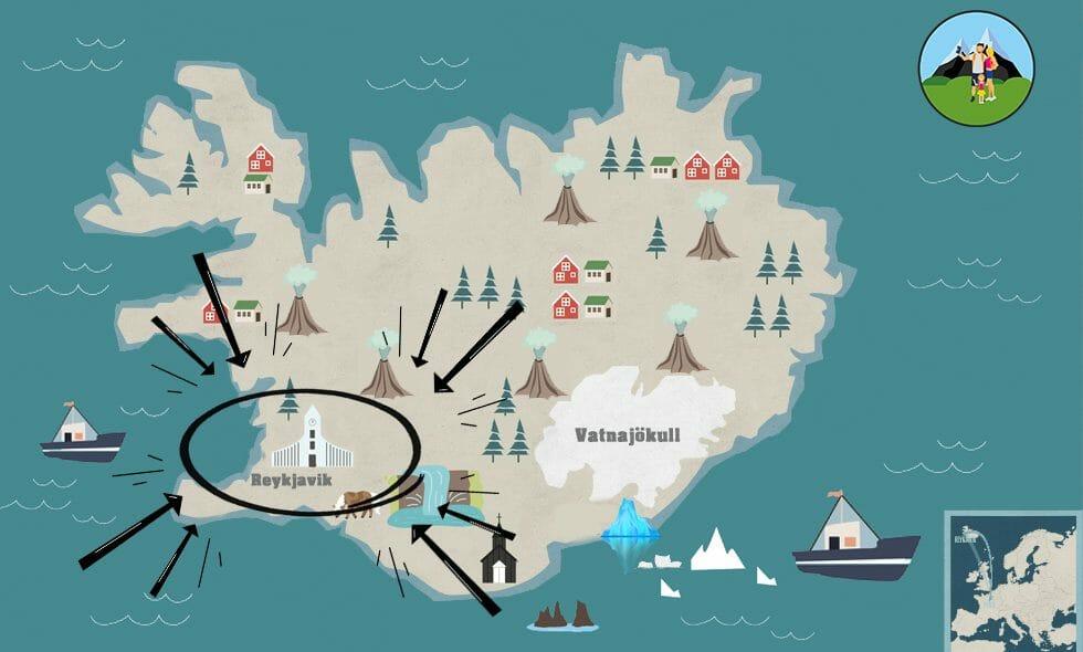 carte reykjavik hiver