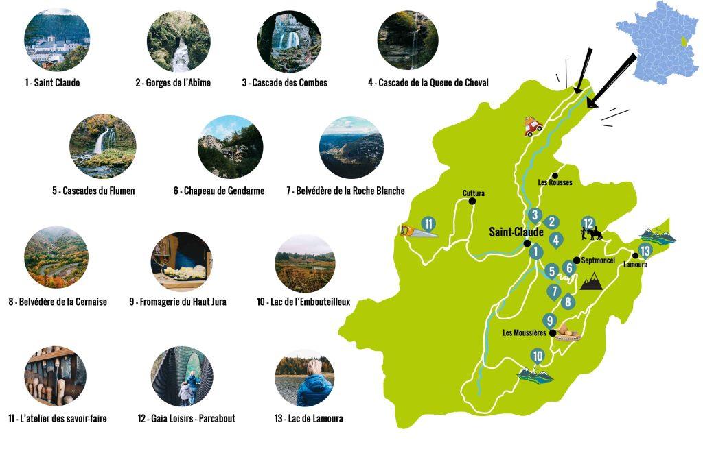 carte saint claude et ses environs